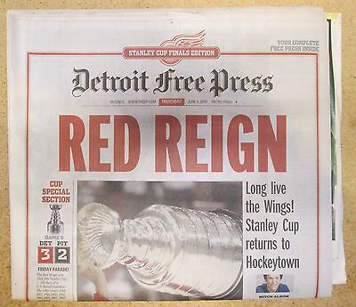 Detroit Free Press  Newspaper Red Wings Win 2008 Stanley Cup Hockeytown Yzerman