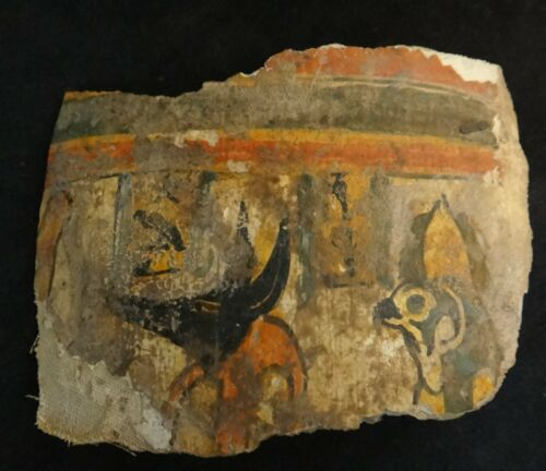 """Ancient Egyptian Sarcophagus Lid Panel Fragment. 2000 + years old 4 5/8"""" x 3 ½""""."""