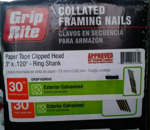 "Grip-Rite Paper Tape Clipped Head 3""× .120"" (10d) Ring Shank Framing Nails 30°"