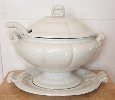 Beautiful Large Red Cliff Soup TUREEN w/Lid, Ladle & Underplate, White Ironstone