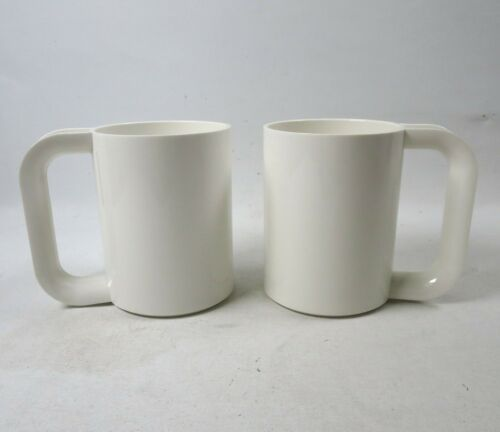 Vtg Heller Maxmug Set of 2 White Melamine Mugs by Massimo Vignelli Stackable USA