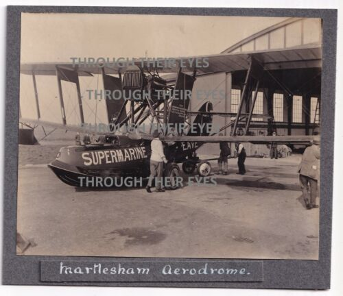 Original  photo Supermarine Amphibious plane at RAF Martlesham Heath c1920