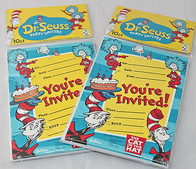 Dr. Seuss Cat in the Hat Birthday Invitations Party Favors 2 Packs - 20 Total (Cat In The Hat Invitations)