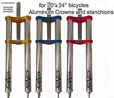 Bmx Double Crown Triple Tree Fork Aluminum Stanchions 450Mm  1 1 8 Steerer Tube