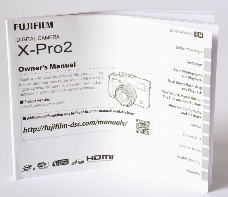 Fujifilm X-Pro 2 Instructions Digital Camera Manual in English and Chinese EX