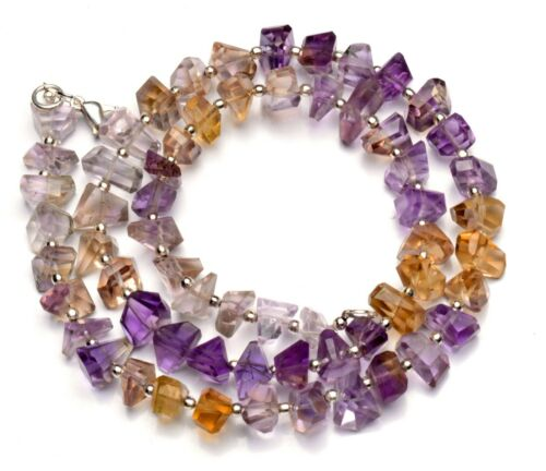 """Natural Gem Brazil Ametrine 8 to 10mm Size Faceted Nugget Beads Necklace 18"""""""