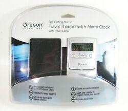 Oregon Scientific Self Setting Atomic Travel Alarm Clock Indoor Temperature Case
