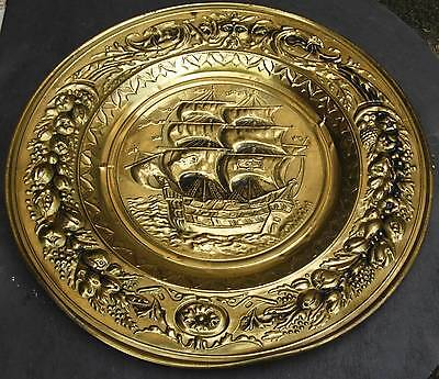Brass Sail Boat Ship Embossed England Wall Hanging Plaque Platter Tray Vintage