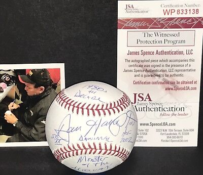 Dan Hampton Chicago Bears Signed Baseball JSA WITNESS COA FIVE INSCRIPTIONS D