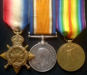 WW1 1914-15 TRIO OF MEDALS PTE CUTTS, 16TH ROYAL.WELSH.FUSILIERS, FREE POST UK