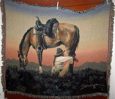 Cowboy & Horse - My Time Woven Cotton Tapestry Afghan Throw