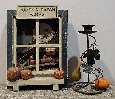 VINTAGE PUMPKIN PATCH FARMS WALL ART + HALLOWEEN CANDLESTICK HOLDER JOL OWL OLD