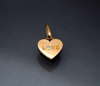 Diamond Small Heart Necklace - 14K Solid Yellow Gold Created Diamond Heart Love Small Charm Pendant Necklace