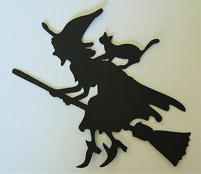 Cricut Witch Broom Cat Halloween Silhouette Die Cut Scrapbook - Halloween Witch Silhouette