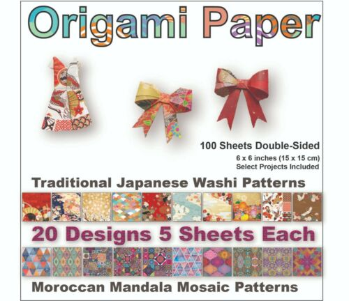 Origami 100 pcs, 20 Designs Double Sided Japanese Washi and Moroccan Patterns