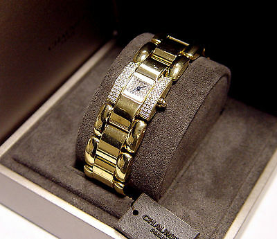 CHAUMET Paris 18K Yellow Gold Diamond Ladies Watch 801-0175 Box