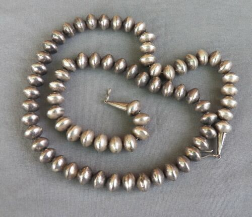 """Vintage Sterling Silver Saucer Shaped Bead Necklace ~ 24 1/4"""""""