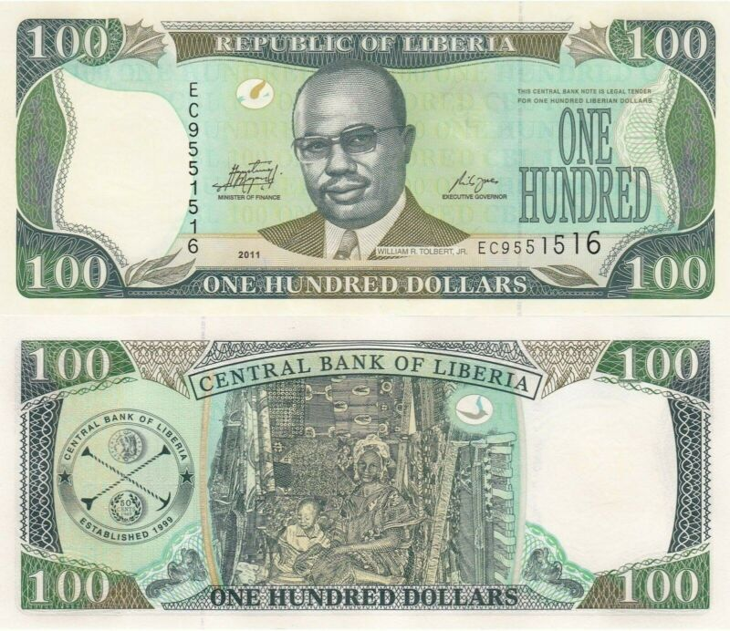 Liberia 100 Dollars (2011) -  Tolbert/Woman with Child/p30f