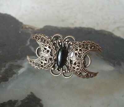 Triple Moon Ring obsidian wiccan pagan wicca witch witchcraft goddess gothic (Witch Rings)