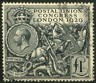 (666) VERY GOOD LIGHTLY CANCELLED SG438 GV £1.00 BLACK 1929 P.U.C.