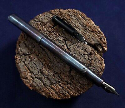 Kaweco Liliput Fireblue Fountain Pen w/ Black F Nib Stainless Steel - Used