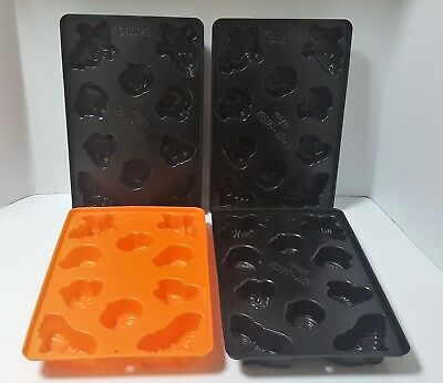 4 Jello Jiggler Black & Orange Halloween 3D Tray Molds Bats Pumpkins Cats Ghosts](Jello Jiggler Molds Halloween)