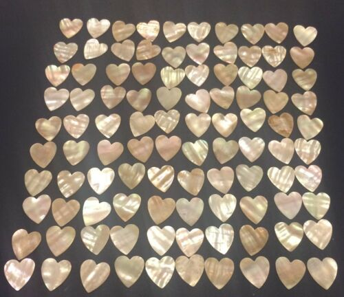 "Lot of 100 Heart Shaped Mother of Pearl MOP Shell Pieces 7/8"" by 13/16"""