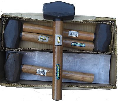 1 KG CLUB HAMMER LUMP HAMMER WITH WOODEN HANDLE 8 PCS IN JOB LOT PROFESSIONAL