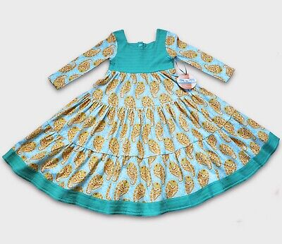 ORGANIC Cotton Green Paisley Toddler Twirly Dress ~ Boho Hippy Indian~ 2 3 4 5 6](Hippie Toddler)