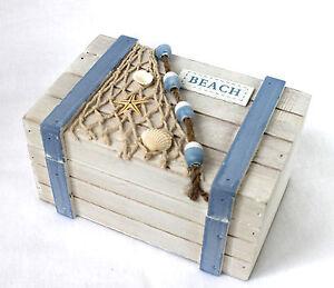 beach box 18cm truhe holz weiss hellblau kiste. Black Bedroom Furniture Sets. Home Design Ideas
