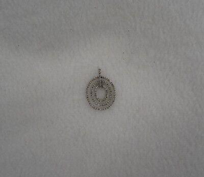 14k White Gold Diamond Oval Pendant - Designer MRB 14k White Gold 1 TCW Oval Diamond Pendant