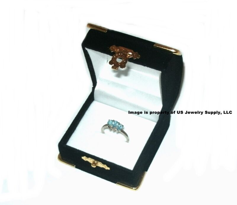 6 Black Velvet & Brass Accent Ring Jewelry Display Presentation Gift Boxes