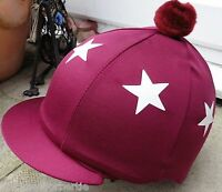 Lycra Hat Silk Skull Cap Cover Burgundy Maroon White Stars With Or W/o Pompom - affordable horseware - ebay.co.uk