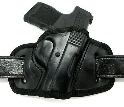 Right Hand Black Leather OWB Open Top Belt Slide Holster for SIG SAUER P365 Open Top Sig