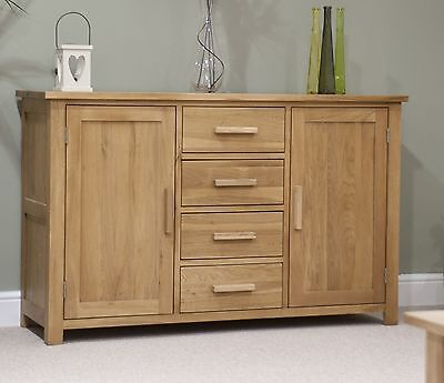 Nero solid oak furniture large storage sideboard