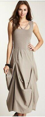 Barbara Lesser Origami Cotton Dress Gray Size Small