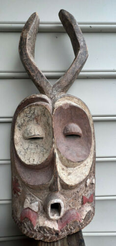 Vtg African Painted Horned Wood Hand Carved Tribal Mask Wall Hanging Mask