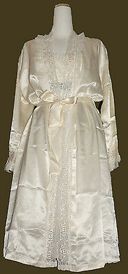 Nightgown Lingerie Set Lacy Satin Polyester Made In Korea Cream Color Free Size