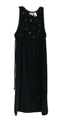Vintage Erika Studio Black Velvet Christmas Jumper Dress Size XL