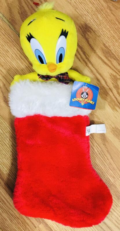 1997 Vintage~Looney Tunes~Plush Tweety Bird Christmas Stocking.