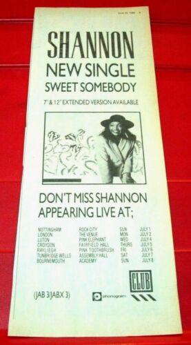 "Shannon Sweet Somebody Vintage ORIGINAL 1984 Press/Magazine ADVERT 11.5""x 4.5"""