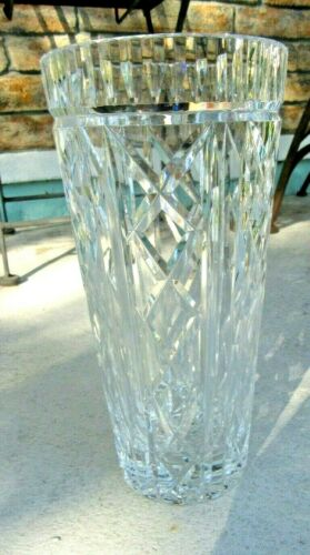 Outstanding! GORGEOUS LARGE WATERFORD CUT CRYSTAL GLASS VASE - FINE PATTERN 10""