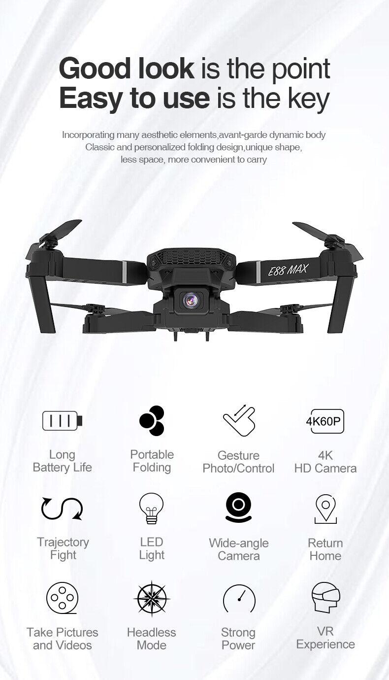 2021 RC Drone 4k HD Wide Angle Camera WIFI FPV Drone Dual Camera Quadcopter Toys - $59.00