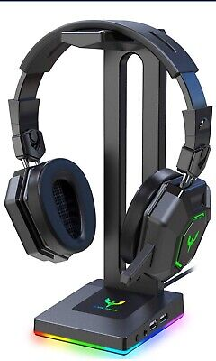 Blade Hawks RGB Gaming Headphone Stand with 3.5mm AUX and 2 USB Ports, Durabl...