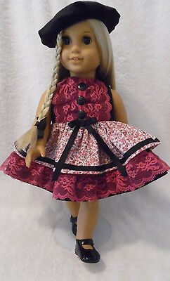 Doll Clothes fits 18 inch American Girl etc 3pc Lot DRESS/SHOES & HAT