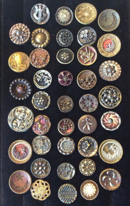 40 Antique Picture Buttons Birds Flowers Cow Etc MOP Metal Layered small