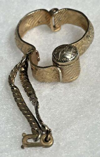 Vintage 1960s Gold Silver Tone Textured Purse Glove Scarf Clip Hanky Holder