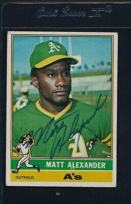 1976 Topps #382 Matt Alexander A's Signed Auto *5410