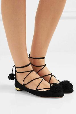 $660 Aquazzura Black Suede Lace Up Zip Fringe Tie Flat Shoes Size 38 1/2