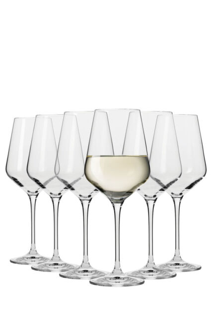 NEW Krosno Flair Riesling Wine Glasses, Set 6 Gift Boxed, 390ml